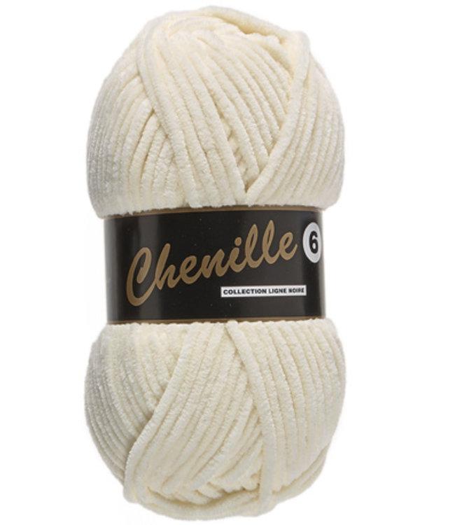 Lammy Yarns Chenille 6 - 016 - gebroken wit