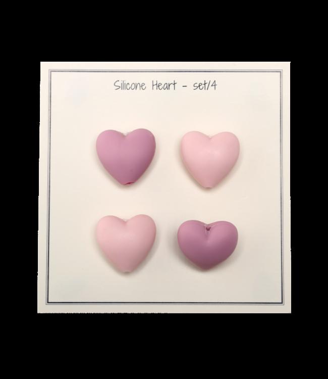 Go Handmade Siliconen hartjes roze - 4st