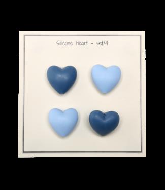 Go Handmade Coeurs en silicone bleu - 4 pièces