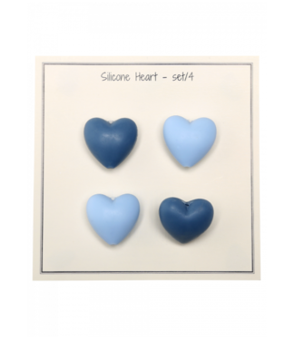 Go Handmade Silicone hearts blue- 4 pcs