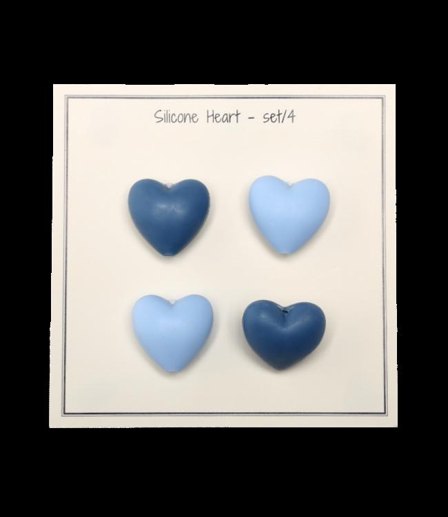 Go Handmade Silikonherzen blau- 4 Stück