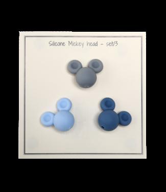 Go Handmade Mickey en silicone bleu - 3 pièces