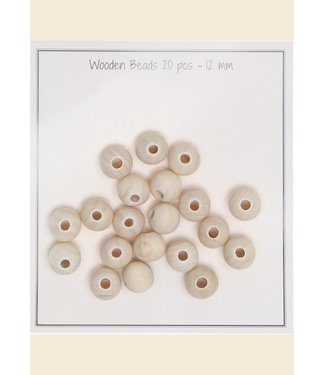 Go Handmade Wooden beads 12 mm - 20 pcs