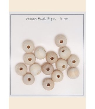 Go Handmade Wooden beads 15 mm - 15 pcs
