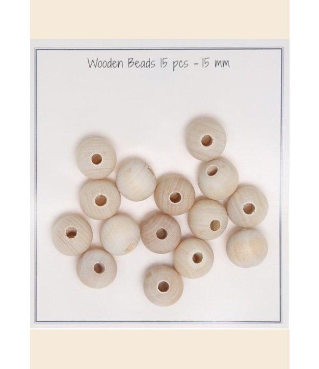 Go Handmade Houten parels 15 mm - 15 st