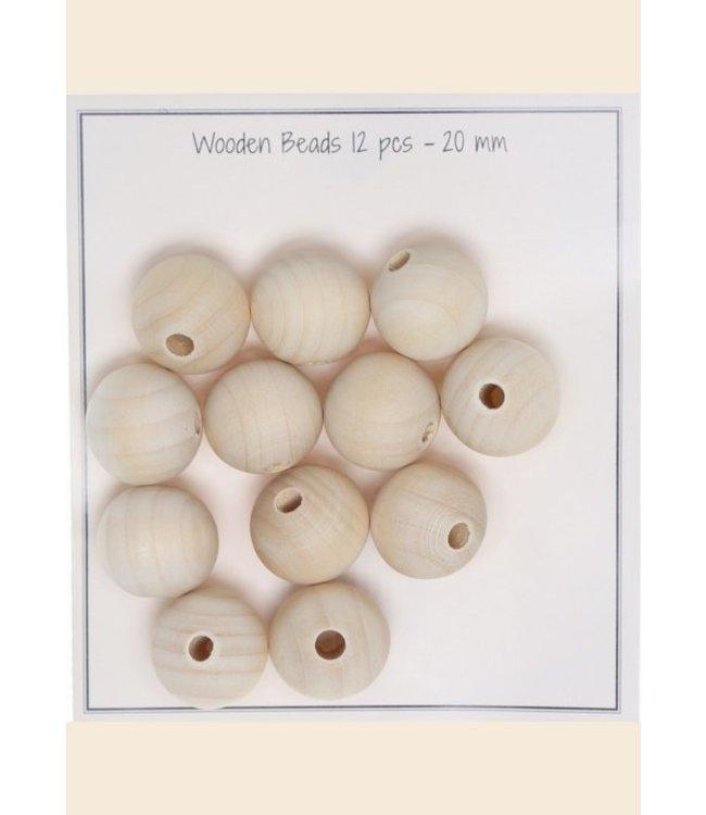 Go Handmade Houten parels 20 mm - 12 st