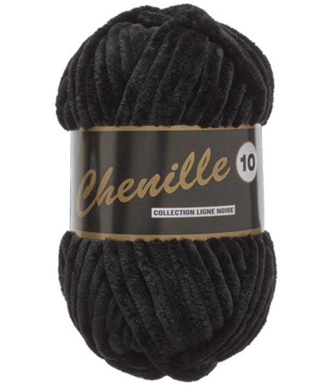 Lammy Yarns Chenille 10 - 200g - 001 - zwart