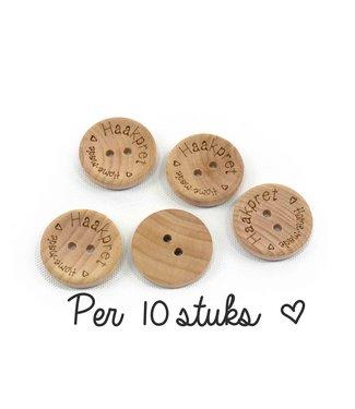 Haakpret 10x bouton en bois Haakpret - 2 cm