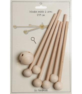 Go Handmade Mobile en bois 39 cm à 6 bras