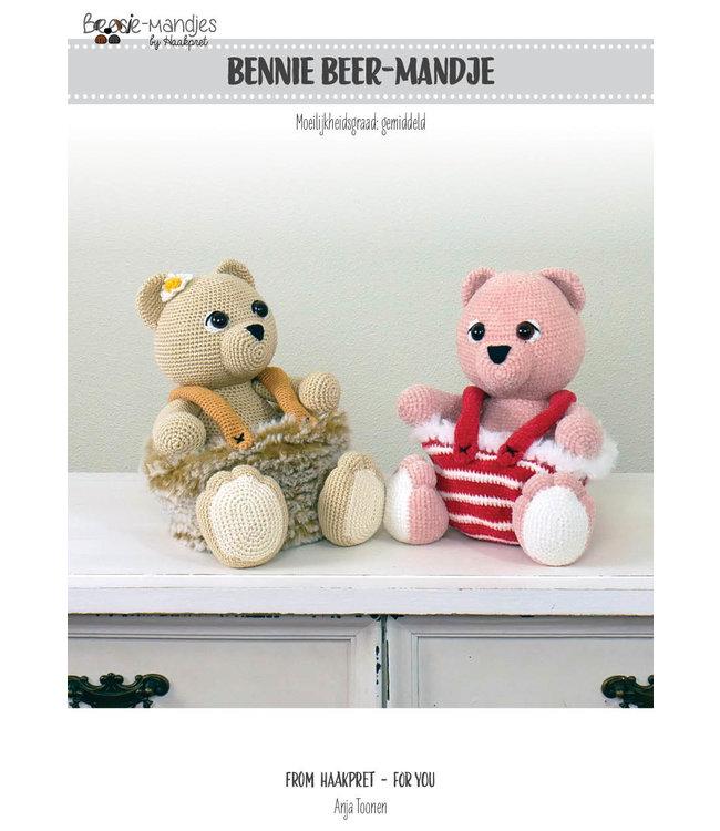 Haakpret Bennie Beer mandje werkbeschrijving A5 - Nederlands