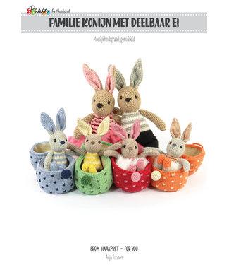 Haakpret Familie Konijn met deelbaar ei - werkbeschrijving A5 - Nederlands