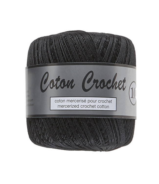 Lammy Yarns Coton Crochet no 10 - 50g - 001 zwart