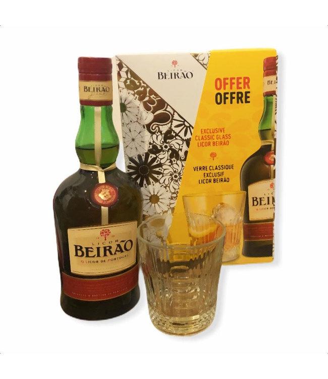 Licor Beirao met glas 0,7 liter