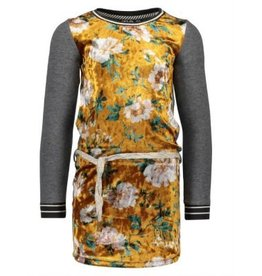Like Flo Like Flo Jersey Dress with Flower velours body Grey