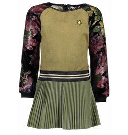 Like Flo Like Flo Girls Army Plisse Dress