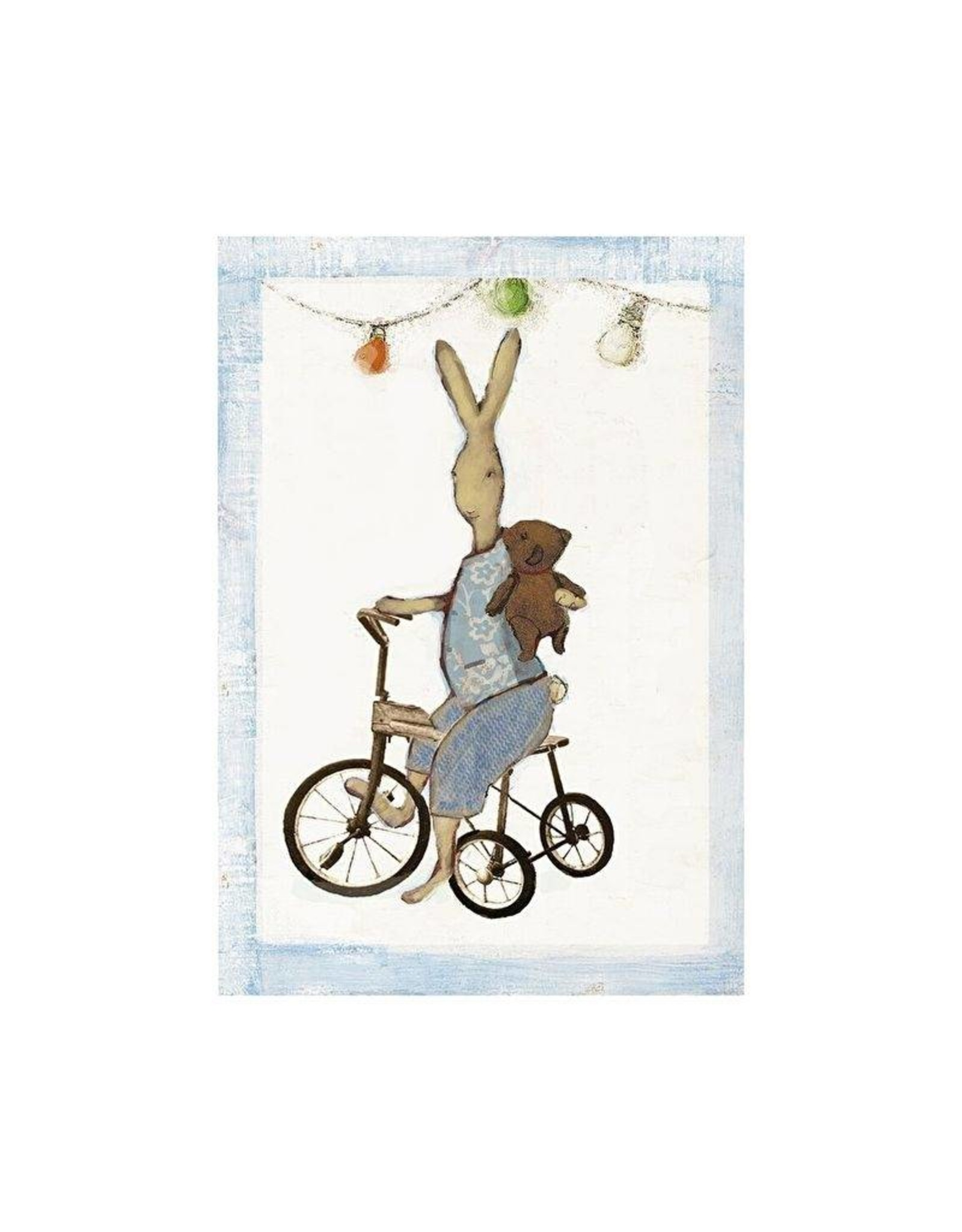 Maileg Maileg kaart met envelop, Rabbit boy on bike