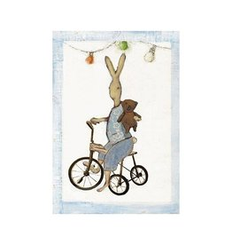 Maileg Maileg kaart met envelop, Rabbit boy on bike