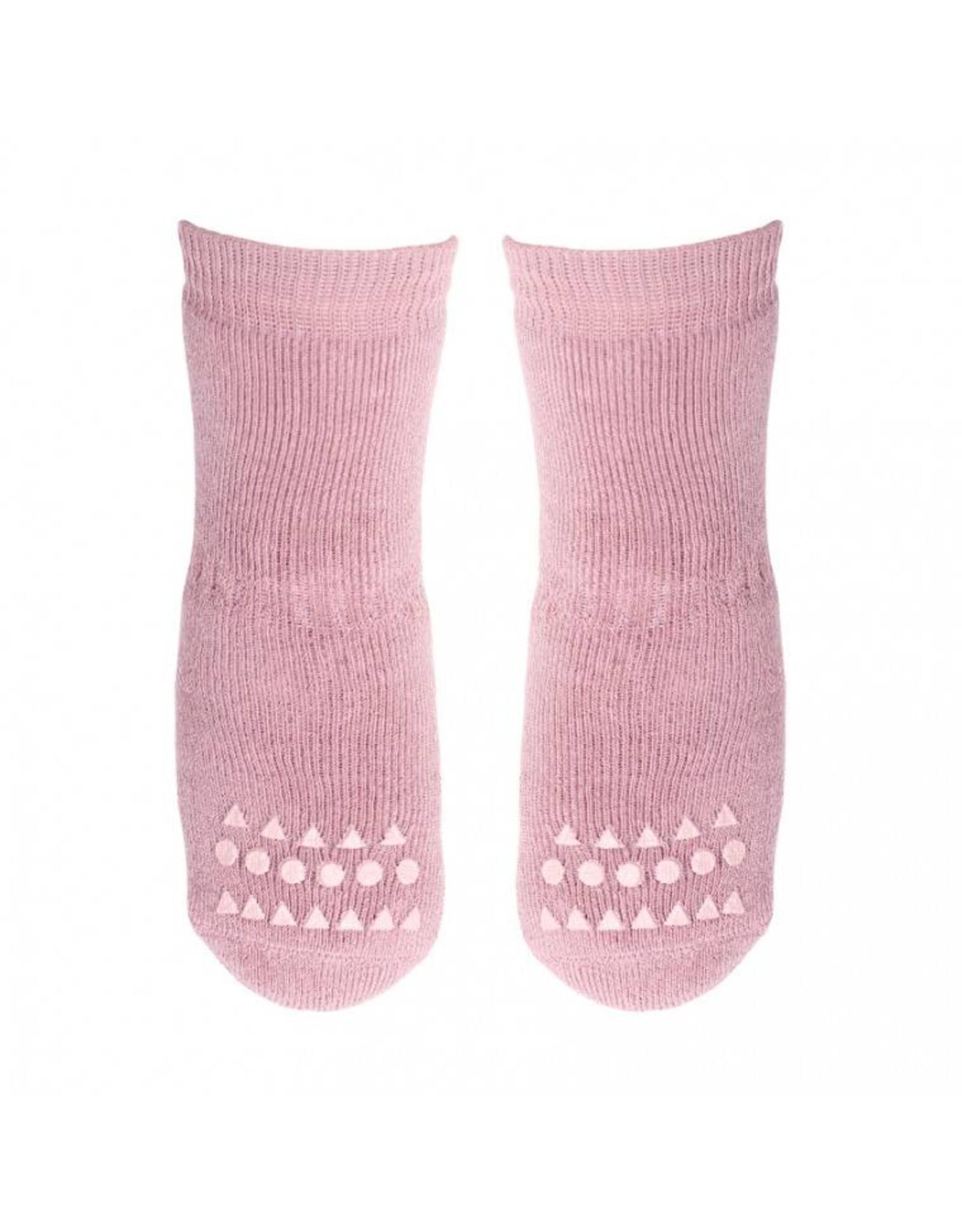 Go baby Go Go Baby Go anti slip sokken Dusty Rose 6-12mnd