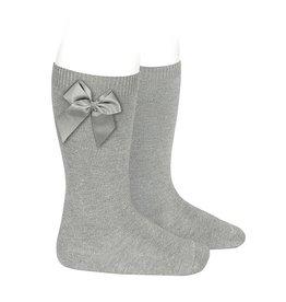 Condor Condor Knee High Socks with grossgrain bow Aluminium