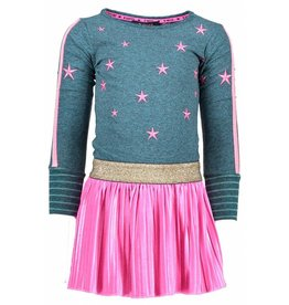 B.Nosy B. Nosy Girls Dress with Plisse velvet Skirt Turtle Melee mt 86-92