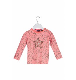 B.Nosy B. Nosy Baby Girl All over print Shirt Leaf Light Red with star