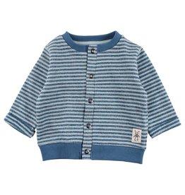Small Rags Small Rags Cardigan Stripe Mallard Blue