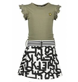 Like Flo Like Flo Girls All over Sweat Dress with army top Text