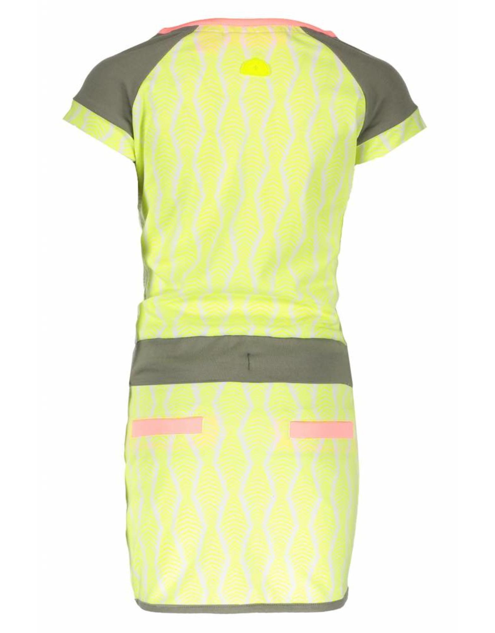 B.Nosy B.Nosy Girls Zebra Dress -White Zebra-Electric Yellow