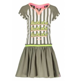 B.Nosy B.Nosy Girls Stripe Dress With Plain Skirt-Fern Green