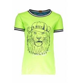 B.Nosy B.Nosy Boys Lion Shirt With Rib-Neon Yellow