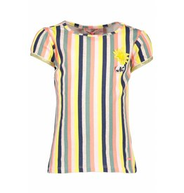 NONO NONO Kamsi T-shirt capsleeve multicolor stripe Light Lemon