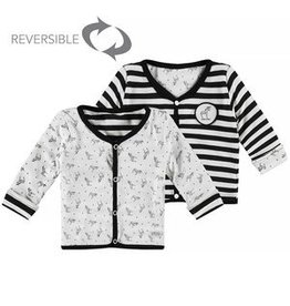 Little Bampidano LB- New Born Cardigan Y/S- Stripe+ AO Print-Black-White stripe