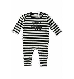 Little Bampidano LB-New Born Overall Y/D Stripe- Black-White Stripe