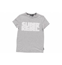 Super Rebel Super Rebel Boys t-shirt with print grey melee/white