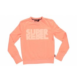 Super Rebel Super Rebel Boys plain round neck sweater neon orange