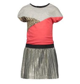 Like Flo Like Flo Girls Colorblock Dress with metallic plisse skirt Grey