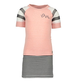 Like Flo Like Flo Girls Jersey Dress with striped skirt Old Pink