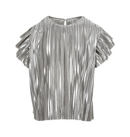 Creamie Creamie Blouse metallic jersey plisse silver maat 128