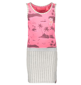 B.Nosy B.Nosy Girls Jersey Dress with aloha top and stripe Skirt Pink
