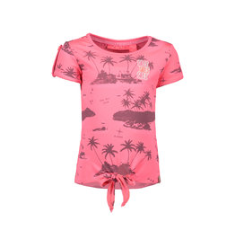 B.Nosy B.Nosy Girls short sleeve Knot Shirt with allover print Pink Bubblegum