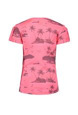 B.Nosy B.Nosy Girls short sleeve Knot Shirt with allover print Pink Bubblegum