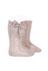 Condor Condor Perle Openwork High Knee Socks with Bow Old Rose