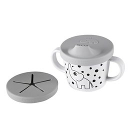 Done by Deer Silicone Spout/Snack Cup, Elphee, Grey