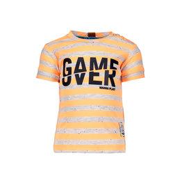 B.Nosy B.Nosy Baby Boys Stripe Shirt Game Over Neon Orange