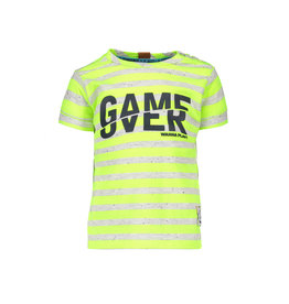 B.Nosy B.Nosy Baby Boys Stripe Shirt Game Over Neon Yellow