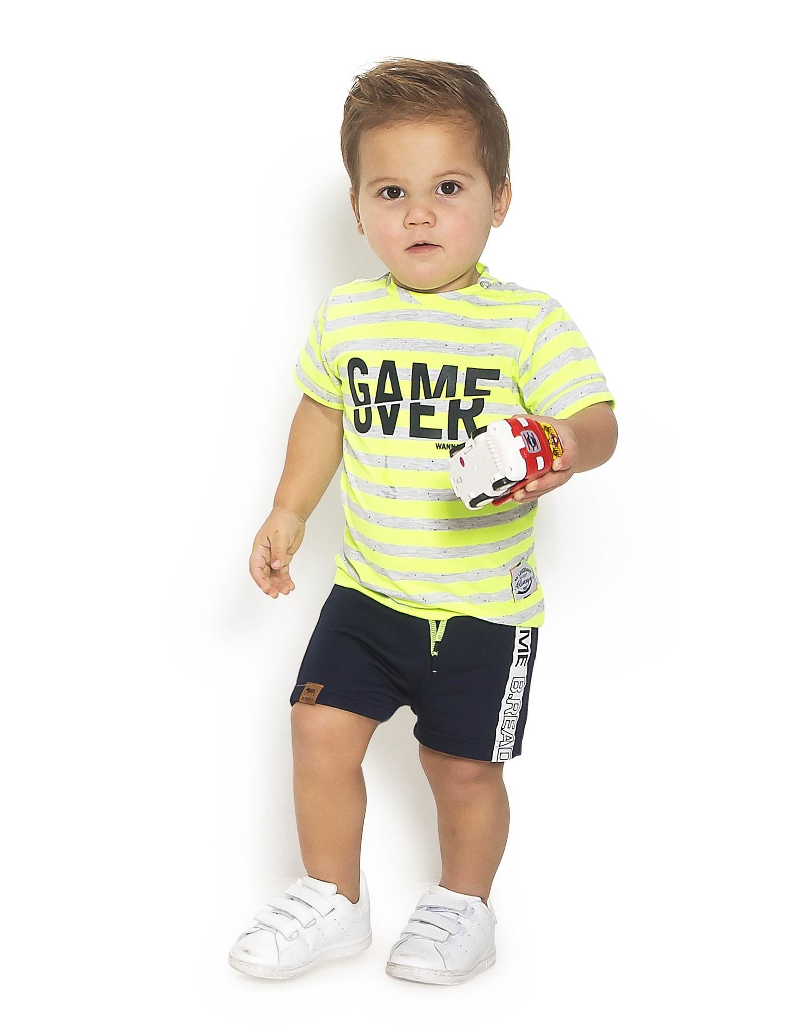B.Nosy B.Nosy Baby Boys Stripe Shirt Game Over Neon Yellow