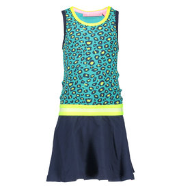 B.Nosy B-Nosy Girls Jersey Dress With Rib Neck Elastic Waistband- Turquoise/Midnight Electric Yellow