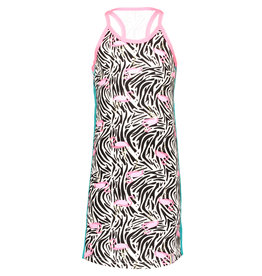 B.Nosy B-Nosy Girls Jersey Singlet Dress- White Flamingo Zebra All Over Print