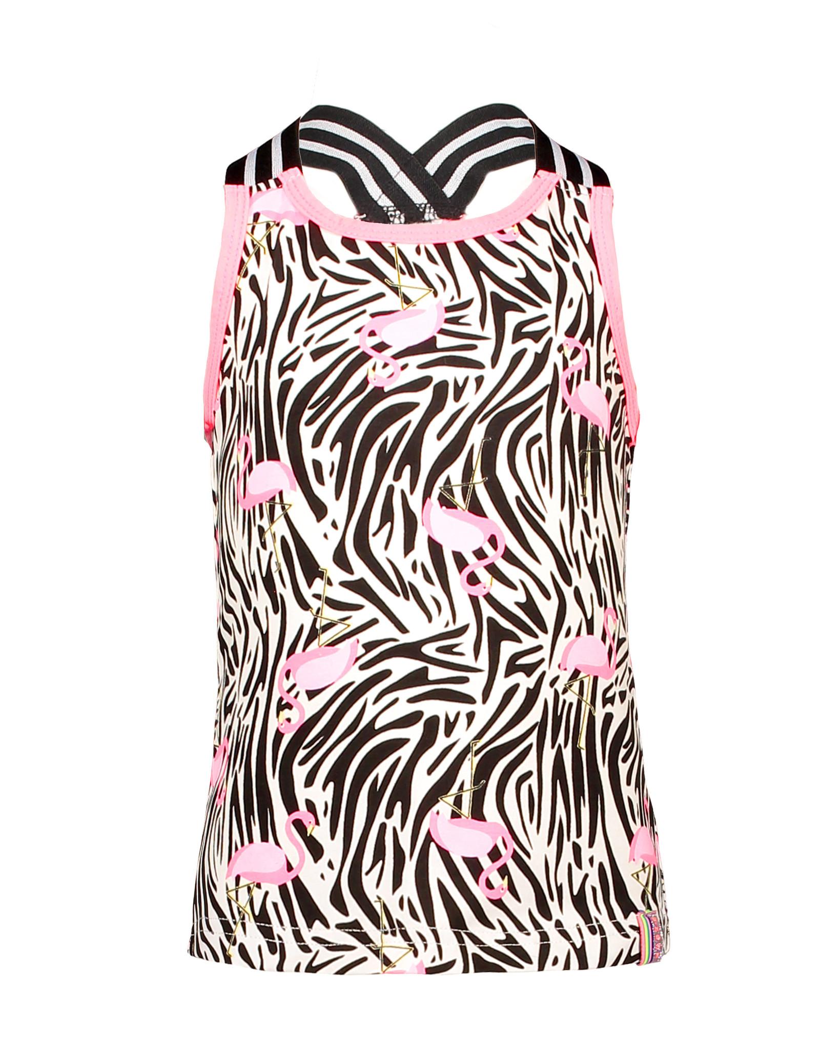 B.Nosy B.Nosy Girls Jersey Singlet With Elastic- White Flamingo Zebra All Over Print