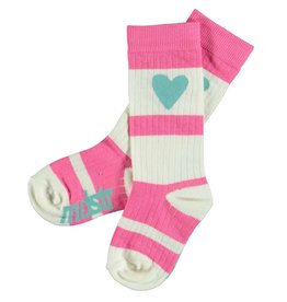 Moodstreet Mini Moodstreet Mini Knee Socks Heart- Bright Pink